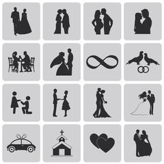Wedding, marriage, bridal icon set. Black Vector Illustration ep