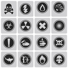 "Different icons for ""Danger"" Black icons set. Vector Illustratio"