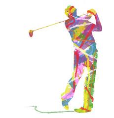 silhouette di golfista composto da colori