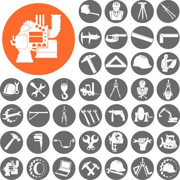 Engineer gears, tools icon set. Vector Illustration eps10