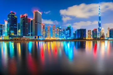 Dubai skyline at dusk, Dubai.