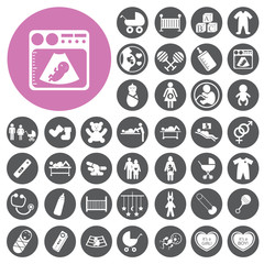 Baby pregnancy mother icons set. Vector Illustration eps10