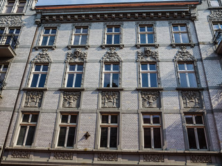 Facade of Art Noveau tenement in Katowice
