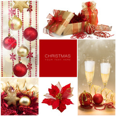 Christmas Set. Winter Holiday Gifts. Golden and Red Collage