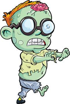 Cute cartoon stalking zombie