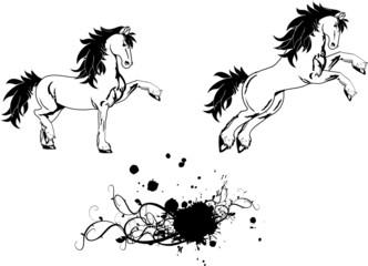 horse sticker tattoo set vector1