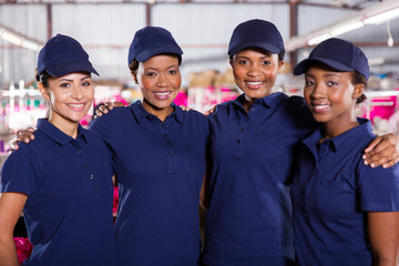 young textile factory co-workers