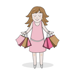isolated girl in pink dress with sale bags