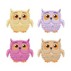 Set of cartoon owls for wisdom or education concept design. All