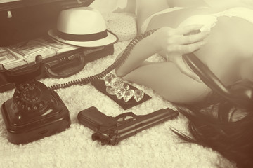 Retro time - bad girl calling by phone