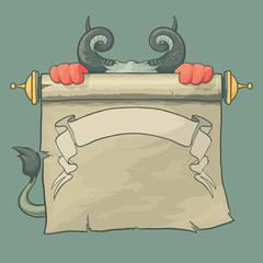 Cartoon Devil with horns and tail holds up a Contract