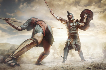 Ancient Greek warriors Achillesand Hector fighting in the combat Wall mural