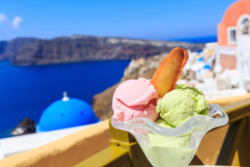 Wall Mural - Ice cream in Santorini, Greece