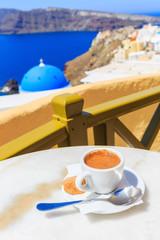 Wall Mural - Coffee in Santorini, Greece