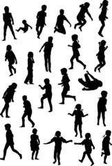 twenty three child silhouettes collection on white