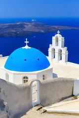 Fototapete - Church in Firostefani, Santorini Greece