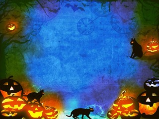 Halloween pumpkins and black cats - blue orange texture