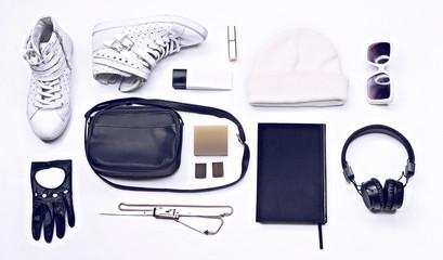 Trendy  youth black and white set white background