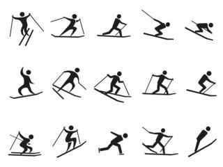 black skiing stick figure icons set