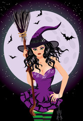 Happy Halloween. Sexy night witch with broomstick, vector