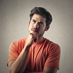 man thinking of something