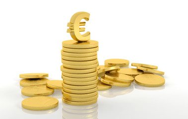 Stack of golden coins with euro sign isolated on white