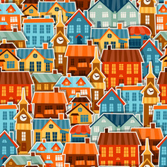 Town seamless pattern with cute colorful sticker houses.