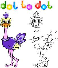 Funny cartoon ostrich dot to dot