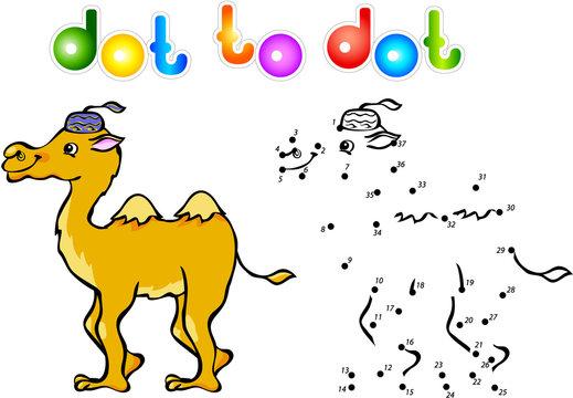 Funny cartoon camel dot to dot