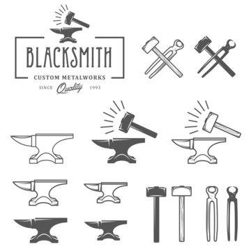 Vintage blacksmith labels and design elements