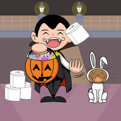 Halloween, trick or treat, vector illustration