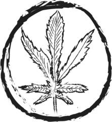 doodle cannabis leaf Icon