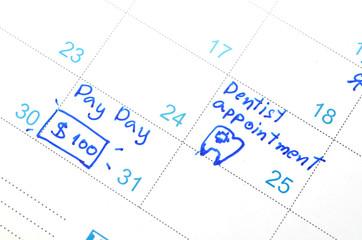 time planner or calendar