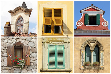 beautiful diversity of old windows in Italy