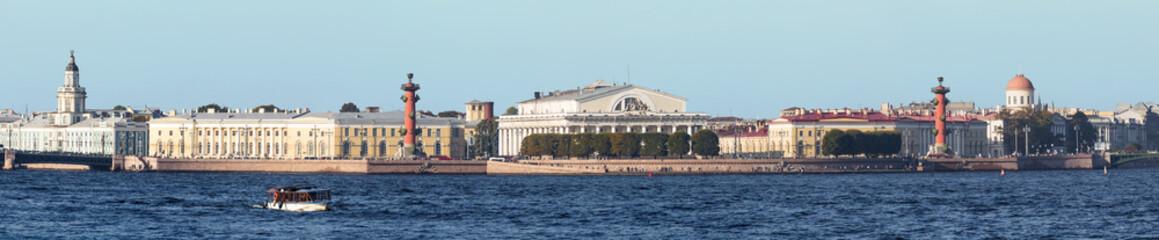 Spit of Vasilyevsky Island in summer, St. Petersburg