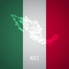 Low Poly Mexico Map with National Colors