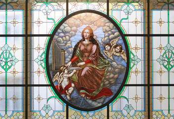 Stained glass of Saint Cecilia, Moscow Conservatory