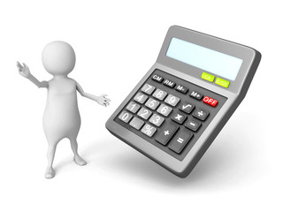 white 3d man with office calculator