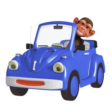 cartoon monkey driving a car