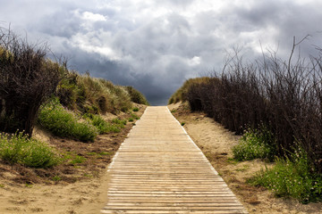 Wooden path to the beach between the dunes, Langeoog Germany