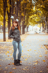 beauty girl in autumn park