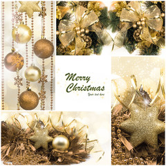 Christmas Set. Winter Holiday Gifts. Festive Golden Collage