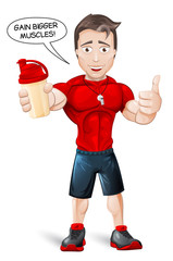 Cartoon Fitness Coach with protein shake