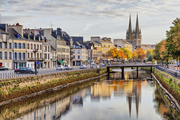 Embankment of river Odet in Quimper, France