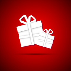 Christmas gift from white paper, new year card, red background