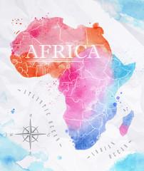 Spoed Foto op Canvas Wereldkaart Watercolor map Africa pink blue
