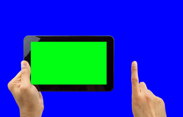 digital tablet with chroma key blue and green