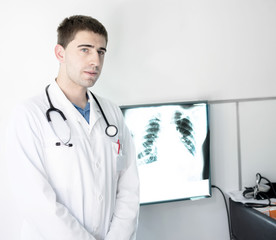 Doctor at lung X-ray