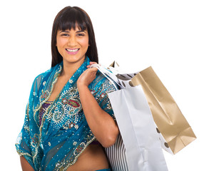 indian woman carrying shopping bags