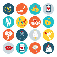 Flat wedding icons set for web , mobile